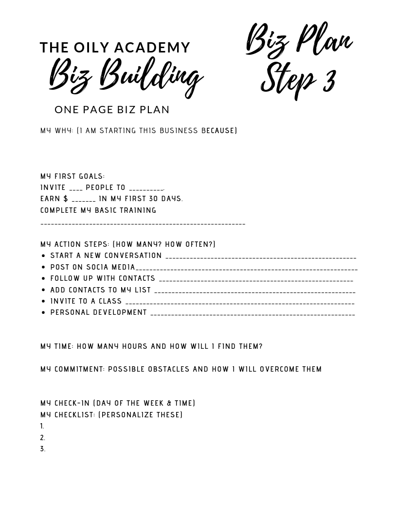 One Page BIZ PLAN
